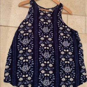 Navy Floral Print Sleeveless Top